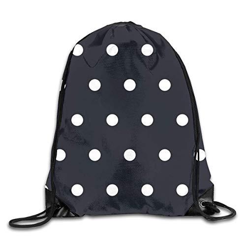 (Polka Dot White Black Drawstring Backpack Bag Rucksack Shoulder Sackpack Sport Gym Yoga Runner Beach Hiking Dance)