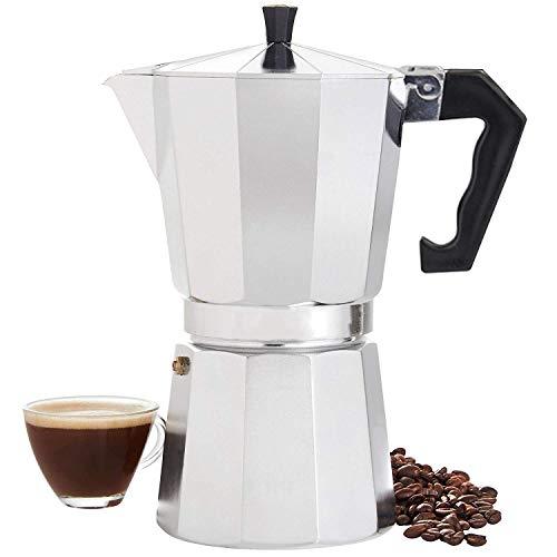 COMLIFE 600ML Cafetera Italianas Espresso de Aluminio Octogonal Mocha Coffee Maker para Estufa con Asa Resistente al Calor para Oficina, Hogar (12 Tazas)