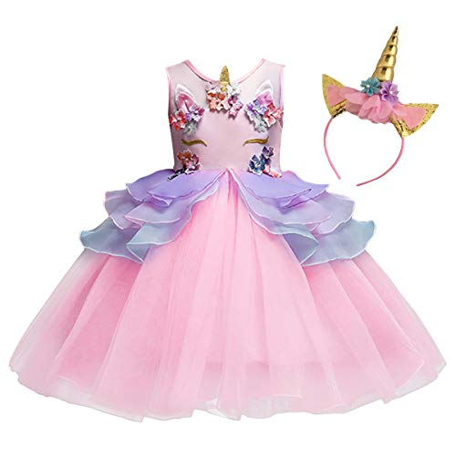 MYRISAM Unicorn Princess Tulle Dress Girls Birthday Pageant Party Dance Performance Outfits Carnival Dress up Fancy Costume Pink 3-4T
