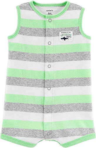 Carter's Baby Boys' Shark Striped Snap-up Cotton Romper 6 Months - Boys Snap Front Baby