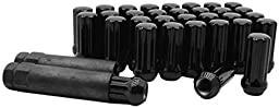 24 Pc Black 14x1.5 Spline Lug nuts For Aftermarket Wheels Small Diameter Hole With 2 Keys Fits All Silverados Sierra & More
