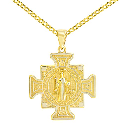 Solid 14K Yellow Gold Saint Benedict Cross Charm Pendant Cuban Concave Necklace, 24