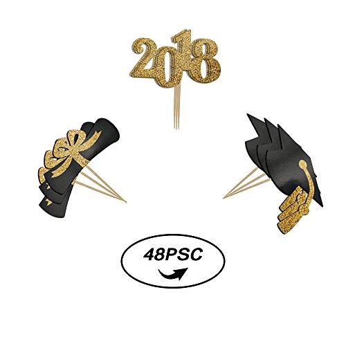 Homy Feel 2018 Graduation Cupcake Toppers 48Pcs Imitation Glitter Design Graduation Party Mini Cake Decorations, Diploma, 2018, Grad Cap (Graduation Grad Cap)