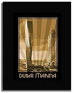 Dubai Marina- Sepia F04-nm (a4) - Framed