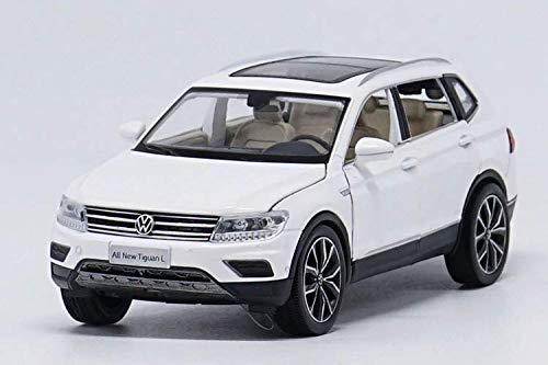 - 1:32 Alloy Pull Back car Toys, high Imitation Tiguan L,Open Door Music &Flash& Toy Vehicles, (White)