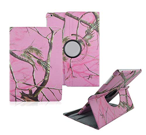 (iPad Mini 1/2/3 Case - Tsmine Premium 360 Degree Rotating PU Leather Case Camouflage Branch Straw Mossy Leaves For iPad mini 1st/2nd/3rd, Pink Branches)