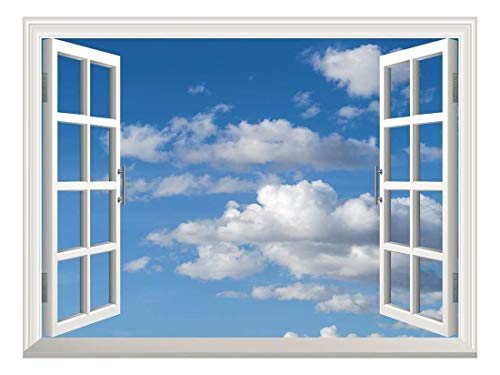Removable Wall Sticker Wall Mural Blue Sky with White Clouds Creative Window View Wall Decor