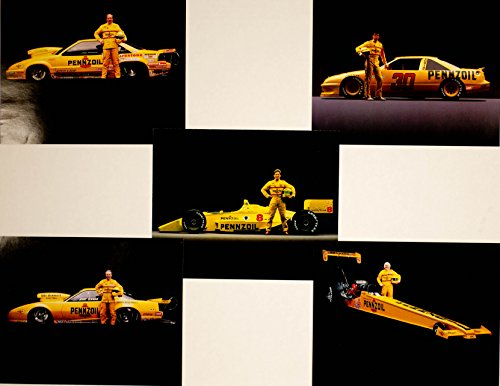 1993 - Pennzoil Racing - Set of 5 Hero Cards - NHRA / NASCAR / Indy Car - John Andretti / Michael Waltrip / Eddie Hill Plus Others - 8x10 Inches - OOP - Rare - Collectible