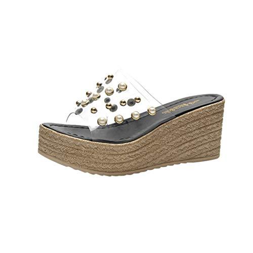 YKARITIANNA Women's Summer Fashion Casual Transparent Pearl Rivets Beach Slippers Shoes Black