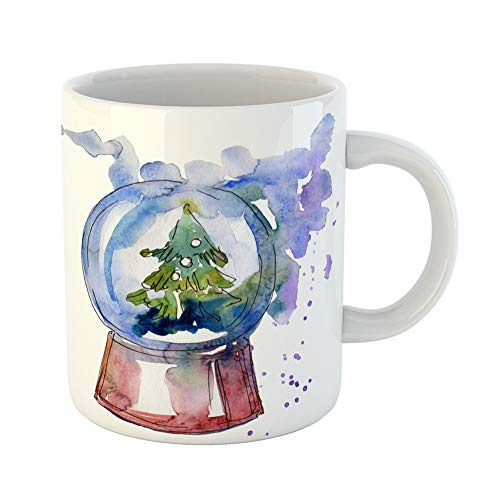 Emvency Coffee Tea Mug Gift 11 Ounces Funny Ceramic Christmas Winter Holiday Symbol in Watercolor Pig Year Happy Aquarelle Gifts For Family Friends Coworkers Boss -