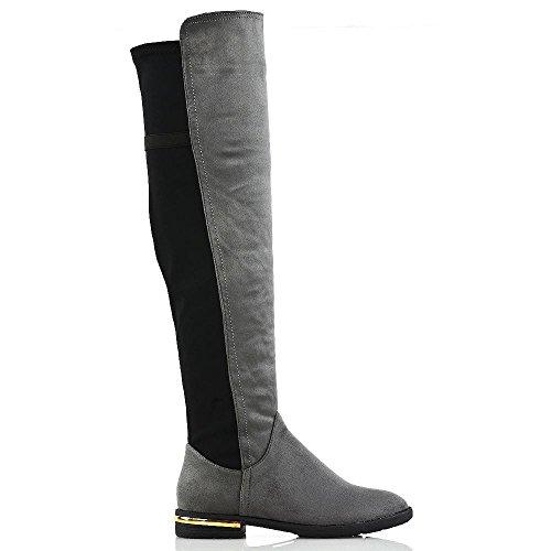 gamuza pierna gris botas la rodilla adorno la Nueva plana dorado talón sobre bajo de casuales estirar mujer pantorrilla IWCTq