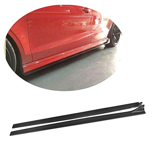 (MCARCAR KIT Side Skirts fits Audi S3 A3 8V Sline Sedan 2014-2019 Add-on Carbon Fiber CF Under Door Rocker Panels Valance Extension Lip)