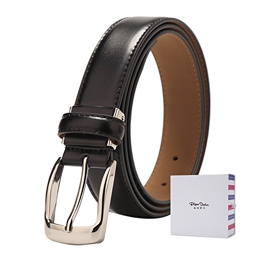 Classic Studded Leather Belt (BISON DENIM Mens Classic Genuine Leather Dress Belt with Single Prong Buckle Black 110 cm)