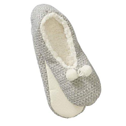 Boundaries on Grey Combo Pull Knit Stitch Slipper No Women's Seed Socks Marled 7aqddRU