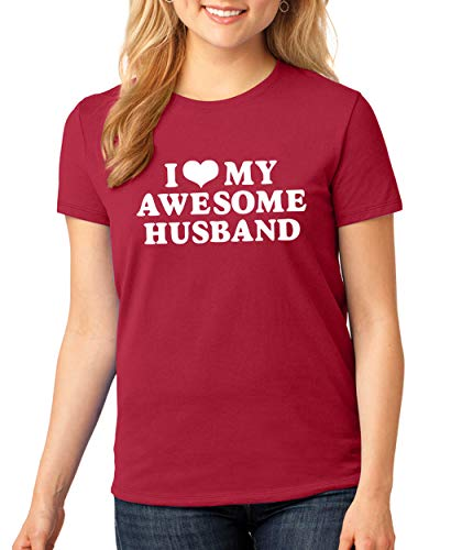 SignatureTshirts Womens I Heart My Awesome Husband Funny Valentine's Day T-Shirt Cute Couple Husband Wife Gift tee Red