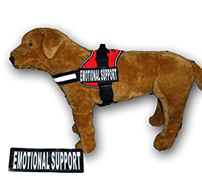 EMOTIONAL SUPPORT Nylon Dog Vest Harness. Purchase comes with 2 reflective EMOTIONAL SUPPORT velcro pathces. PLEASE MEASURE your dog before ordering