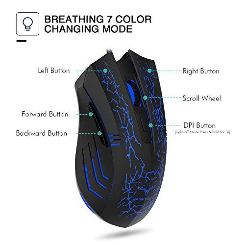 HAVIT HV-MS672 3200DPI Wired Mouse, 4 Adjustable DPI Levels,  800/1200/2400/3200DPI, 7 Circular & Breathing LED Light, 6 Buttons (Black)