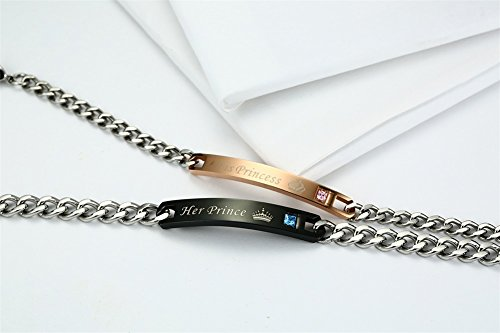 Vnox Matching Set Stainless Steel ''I LOVE YOU'' Valentine Couple Pendant& Bracelets Jewelry Set,Silver by VNOX (Image #2)