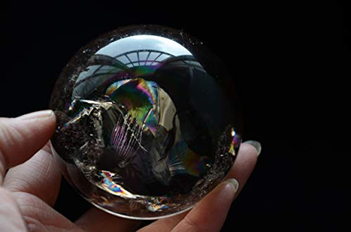 Real Tibetan Himalayan High Altitude Clear Smoky Crystal Rainbow Quartz Ball Sphere Orb 2.75 Inch Spiritual Reiki Healing ()