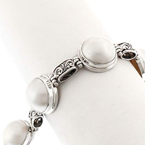 7-8'' Filigree Link White MABE Ocean Cultured Pearl 925 Sterling Silver Bracelet YE-356