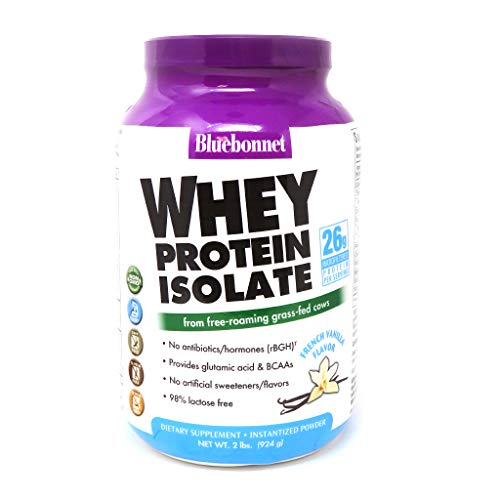 Bluebonnet Nutrition Whey Protein Isolate Powder, Whey From Grass Fed Cows, 26g of Protein, No Sugar Added, Non GMO, Gluten Free, Soy free, kosher Dairy, 2 Lbs, 28 Servings, French Vanilla Flavor