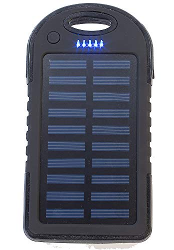 5,000 mAh Portable Solar Power Bank Charger, Battery Pack, 2 USB Port +Flash Light +Charger Cable Water Resistant, Led Indicator External Battery Backup, 4 All Cell Phones, Smart Phone Tablet, Laptop (Power 5000 Solar Bank Mah)
