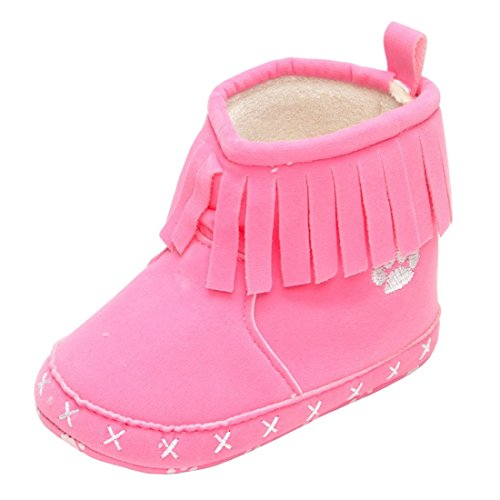 Beeliss Baby Infant Vintage Suede Tassels Soft Sole Western Cowboy Cowgirl Snow Boots (6-12 Months, Pink)