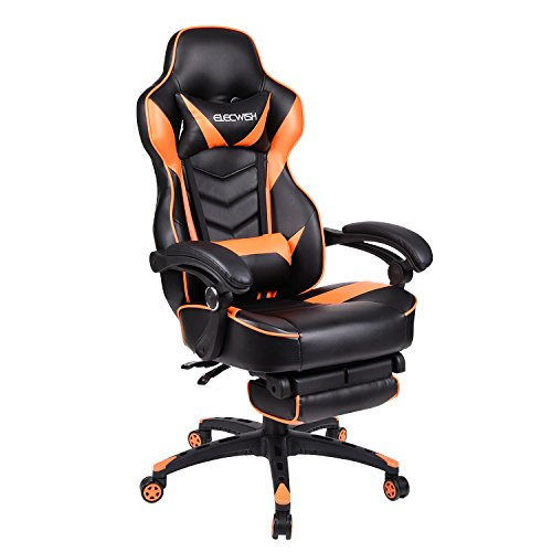 Office Racing Video Gaming Chair PU Leather High Back Adjustable Ergonomic Swivel Recliner Computer Chair Footrest Casters Cushion Lumbar Support (Black+Orange)