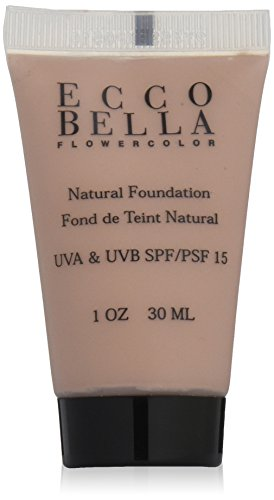 Ecco Bella FlowerColor Natural Liquid Foundation - Vegan, Gluten and Paraben-Free Makeup for Flawless Coverage, Natural, 1 oz.