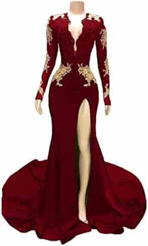78b12c8e4b82 Women's Long Sleeves Split Prom Dresses Gold Appliques Mermaid Court Train Evening  Gowns