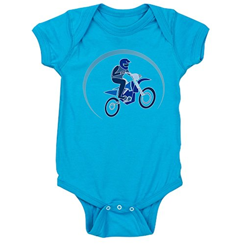 (Truly Teague Infant Bodysuit Dark Motocross MX Flying Dirt Bike in Blue - Turquoise, 0 to 6 Months)