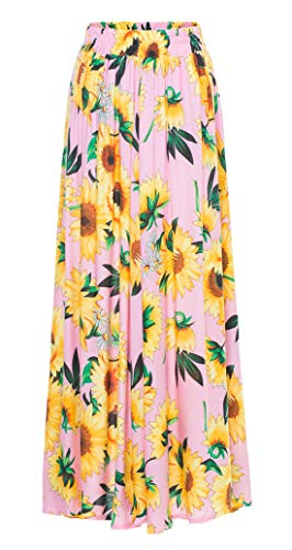 Chartou Womens Lovely Sunflower Print Stretchy High Waist Pleated Maxi Long Skirts (Small, ()