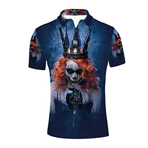 Queen Durable Polo Shirt,Queen of Death Scary Body Art Halloween Evil Face Bizarre Make Up Zombie for -