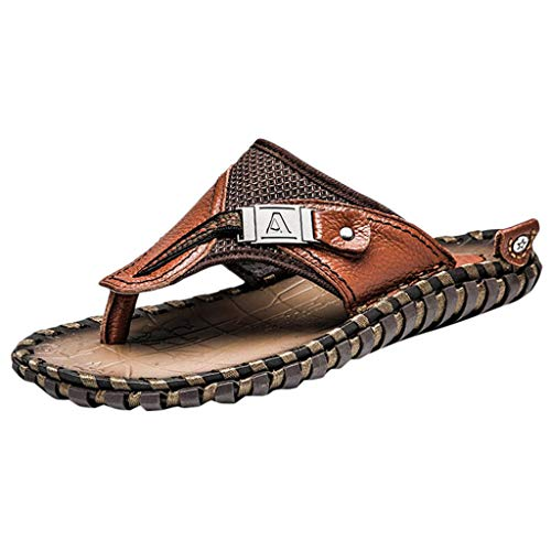 ✩HebeTop Mens Sandals Phantom | Athletic Flip Flops for Men with Contoured Footbed | Waterproof Brown