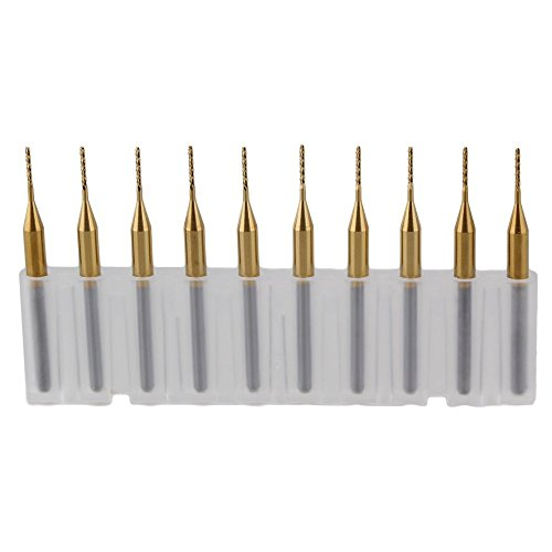 WEONE Replacement 3.175mm Titanium Coated Carbide End Mill Engraving Bits for PCB Rotary Burrs DIA 0.8mm (Pack of 10)