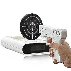 IreVoor Newwest Version Novelty USB Gun Clock Lock N' load Gun Alarm Clock/Target Alarm Clock(White)