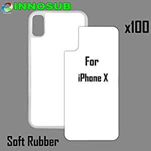 100 x Apple iPhone X-Rubber-White - blank dye case + inserts for dye Sublimation phone cover / blank Printable case, Made by INNOSUB USA