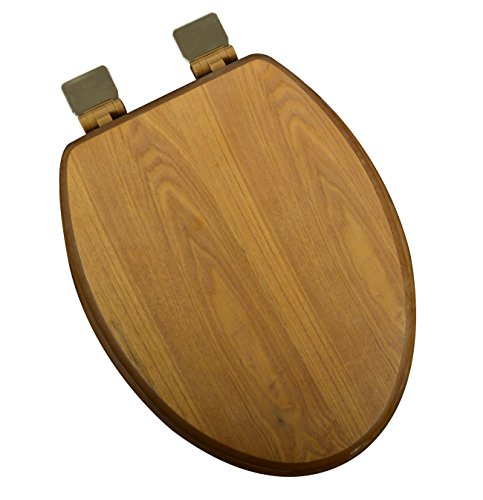 Elongated Solid Oak Toilet Seat (Bath Décor 5F1E1-17BR Elongated Light Oak Toilet Seat with Adjustable Polished Brass Hinge and Decorative Finish)