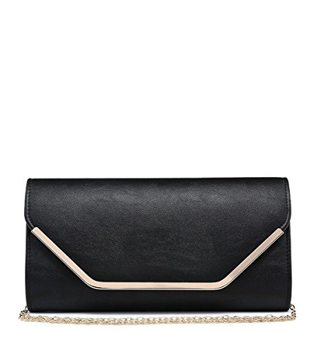 Womens Ladies Faux Leather Foldover Prom Party Evening Dressy Occasion Hand Clutch Bags - N16 Black