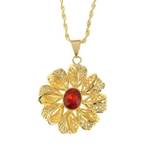Ethiopian Flower Cross Pendant Necklaces For Women Africa Eritrea Items