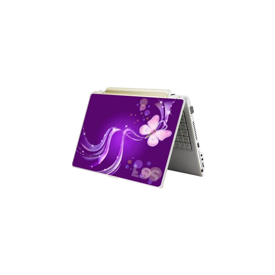 Laptop Skin Shop Laptop Notebook Skin Sticker Cover Art Decal Fits 13.3 14 15.6 16 HP Dell Lenovo Asus Compaq (Free 2 Wrist Pad Included) Purple Butterfly