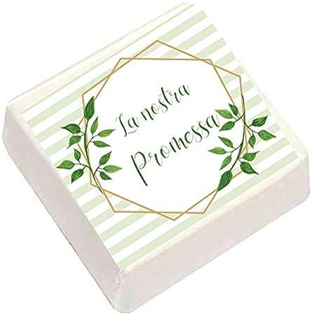 QUADRATINI DI MARSHMALLOW STAMPATI 9 CONFEZIONE + 9 BIGLIETTINI BOMBONIERA  (Promessa di Matrimonio)