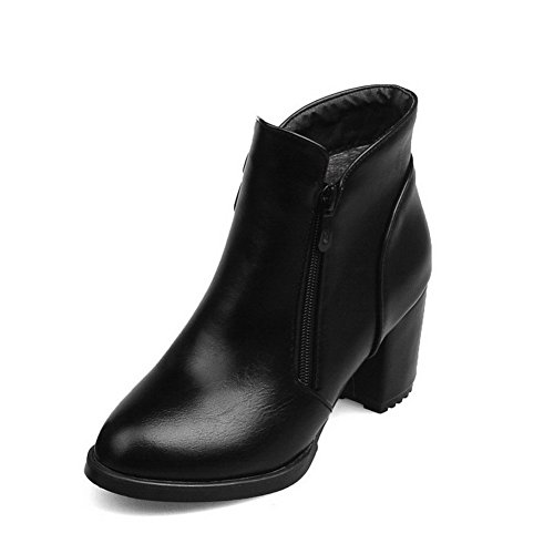 Black Round Boots Allhqfashion Women's Kitten Zipper Heels Material Toe Solid Closed Soft xqPI4qwv