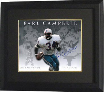 Earl Campbell Signed Autograph Houston OilersTexas Longhorns 16x20 Framed Photo Career Collage - Authentic NFL Photos