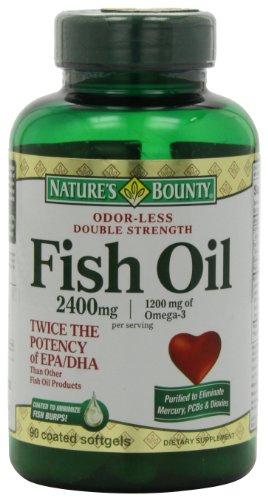 Huile de poisson Bounty 2400 Mg Double Force de la nature Inodore gélules, Omega 3, 90-Count