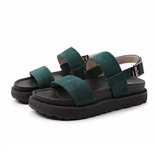 à 34 43 Loisir Confort Sandales Ouvert Confortable Loafers Bout JRenok Vert Femme Baskets Chaussures Sandales Plates pOnz6x