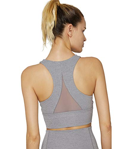 Womens Sports Bra Light Grey Long Workout Crop Tops for Women Supportive for Active Yoga Gym Exercise xs 30a 30b