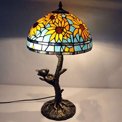 AYEN Tiffany Style Table Lamp Bedroom Living Room Lighting Sunflower Bird Creative Round Leaves Study Desk Lamp ()