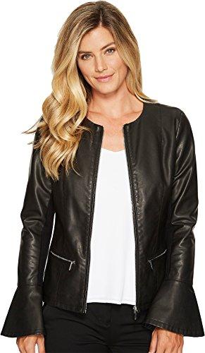 Calvin Klein Women's Center Zip Jacket with Flare Sleeves, Black, XS