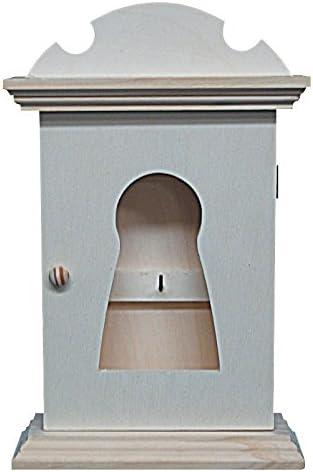 Caja llavero madera. Con dibujo cerradura en la puerta. Interior ...